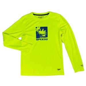 XL Boys Yellow Palm Tree Long Sleeve Swimwear